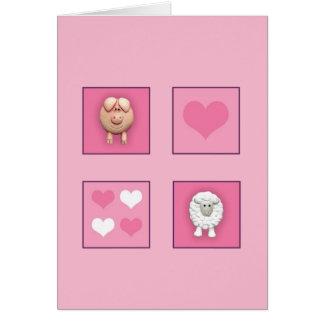 Pig & Sheep & Hearts Greeting Card