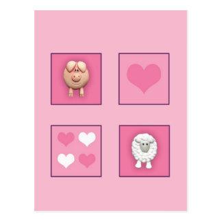 Pig & Sheep & Hearts Postcard