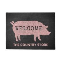Pig Silhouette Custom Welcome Mat