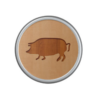 Pig silhouette engraved on wood design bluetooth speaker