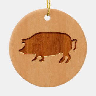 Pig silhouette engraved on wood design ceramic ornament