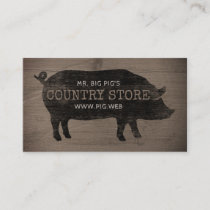 Pig Silhouette Rustic Style Business Card