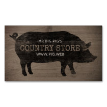 Pig Silhouette Rustic Style Magnetic Business Card
