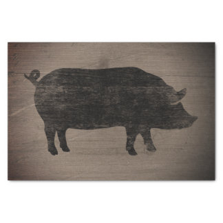 Pig Silhouette Rustic Style Weathered Wood Country Tissue Paper