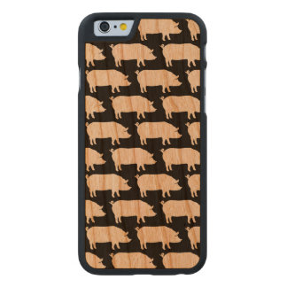 Pig Silhouettes Pattern Carved Cherry iPhone 6 Slim Case