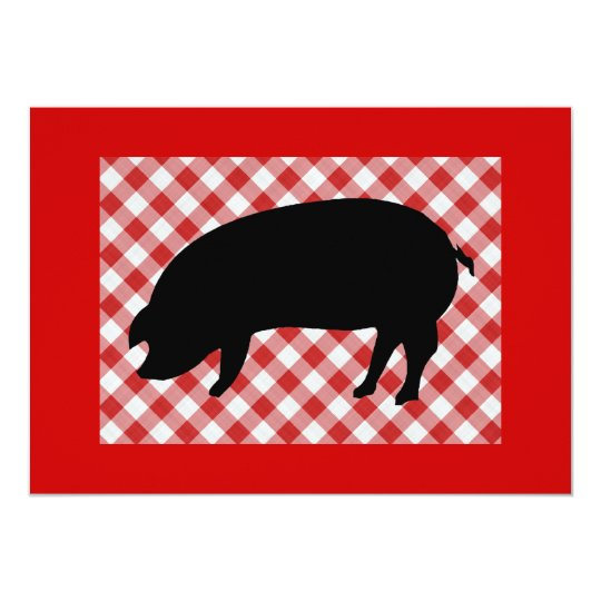 Pig Silo on Red and White Checkered Fabric Card