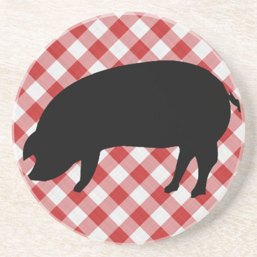Pig Silo on Red and White Checkered Fabric Beverage Coaster