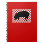 Pig Silo on Red and White Checkered Fabric Spiral Notebook