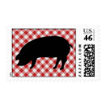 Pig Silo on Red and White Checkered Fabric Postage Stamps