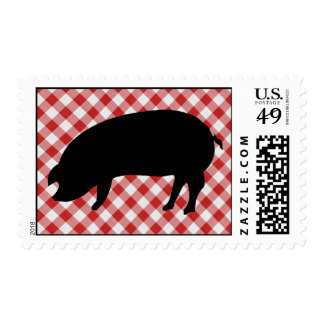 Pig Silo on Red and White Checkered Fabric Postage Stamp