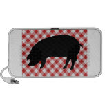 Pig Silo on Red and White Checkered Fabric Laptop Speaker