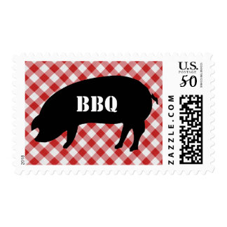 Pig Silo, Red and White Checkered Fabric Barbecue Postage
