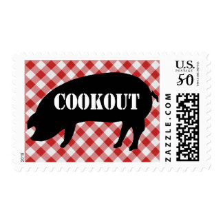Pig Silo, Red and White Checkered Fabric Cookout Postage