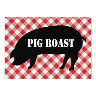 "Pig Silo, Red and White Checkered Fabric Pig Roast 5"" X 7"" Invitation Card"