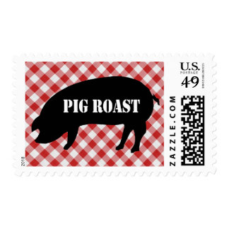 Pig Silo, Red and White Checkered Fabric Pig Roast Stamp