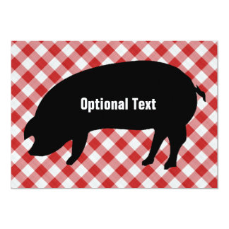 Pig Silo, Red & White Checkered Fabric - Customize Card