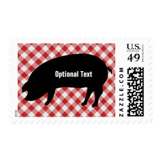 Pig Silo, Red & White Checkered Fabric - Customize Postage