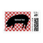 Pig Silo, Red & White Checkered Fabric - Customize Stamp