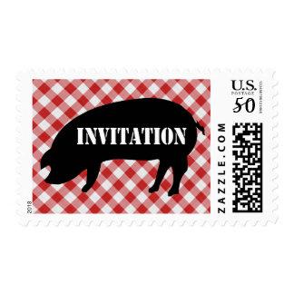 Pig Silo, Red & White Checkered Fabric Invitation Postage
