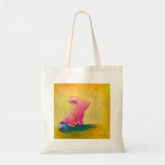 Pig sitting thinker fun cute original art painting canvas bags
