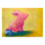 Pig sitting thinker fun cute original art painting large business cards (Pack of 100)