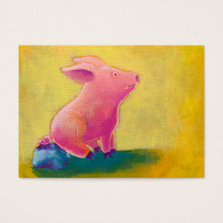 Pig sitting thinker fun cute original art painting business card