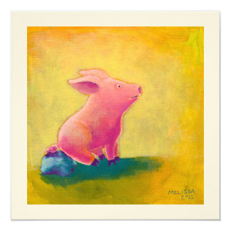 Pig sitting thinking fun cute art illustration card