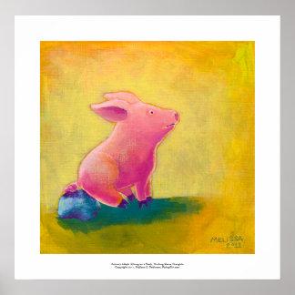 Pig sitting thinking fun cute art illustration poster