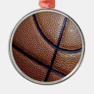 Pig skin basketball pattern with lines metal ornament