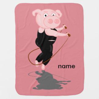 Pig Skipping Swaddle Blanket