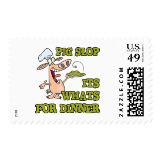 pig slop its whats for dinner funny cook cartoon postage