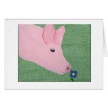 Pig smelling Flower Card
