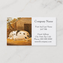 Pig Spotted Hog Vintage Farm Painting Business Card