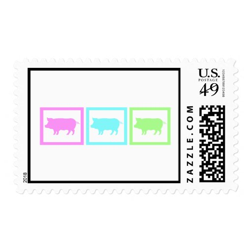 Pig Squares Postage Stamp