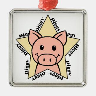 Pig Star Metal Ornament