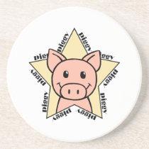 Pig Star Sandstone Coaster