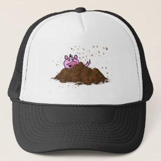 Pig Sty, Happy Pig in Mud Trucker Hat