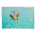 Pig Swimming with Gull Standard Pillow Case