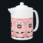 """Pig Teapot<br><div class=""""desc"""">Pig Teapot. This fun pig design makes a perfect gift for any pig lover.  Customizable with any text of your choice. Design &#169; www.justbyjulie.com</div>"""