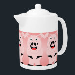 "Pig Teapot<br><div class=""desc"">Pig Teapot. This fun pig design makes a perfect gift for any pig lover.  Customizable with any text of your choice. Design &#169; www.justbyjulie.com</div>"