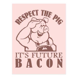 PIG TO BACON custom color postcard