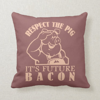 PIG TO BACON custom color throw pillow