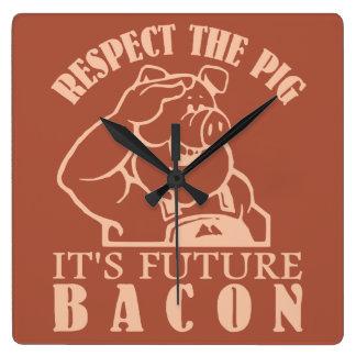 PIG TO BACON custom color wall clock