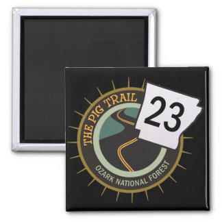 Pig Trail Highway 23 Arkansas Motorcycle Road 2 Inch Square Magnet