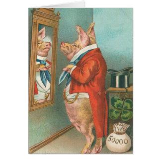 Pig Tying His Cravat Greeting Card