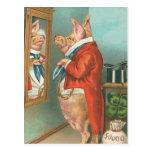 Pig Tying His Cravat Postcard