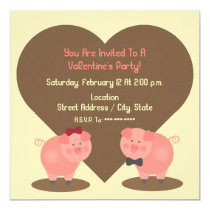 Pig Valentine's Party Invitation