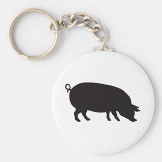Pig Vintage Wood Engraving Basic Round Button Keychain