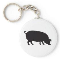 Pig Vintage Wood Engraving Keychain