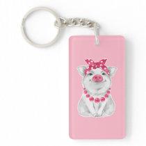 Pig wearing bandana keychain